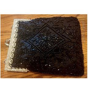 Vintage Black Beaded Silk Handbag